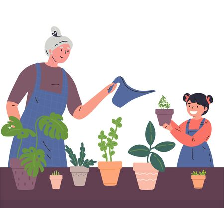 Grandmother and granddaughter water the houseplants from a watering can together.Woman and child caring for indoor plants.Hobby.Time for family.Colorful characters.Vector illustration in flat style.