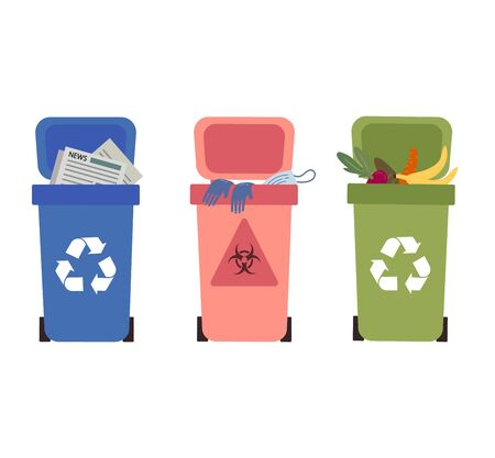 Proper waste disposal without polluting.Waste collection,segregation and recycling garbage separated into different types and collected into waste containers,each bin holds a different material.Flat