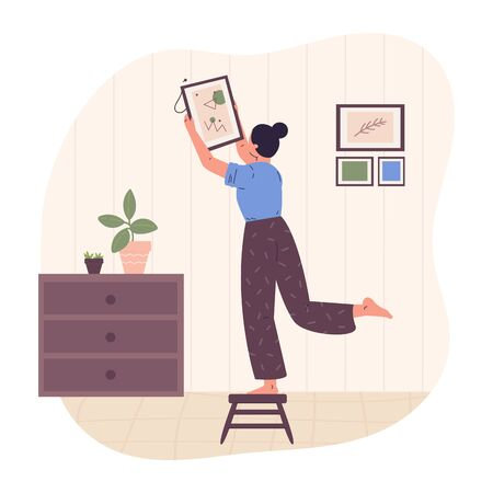 Fashionable women decorate interior, select a picture of modern abstract painting.Stylish girl in scandinavian interior.New interior and rearrangement.Modern vector illustration in flat cartoon style.