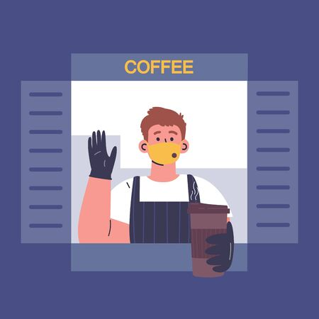 Male barista sells coffee to go from cafe window.Quarantine restrictions.End of quarantine.Cafe during quarantine.The seller in a medical mask,gloves and apron gives out coffee to the buyer.Vector Stock Illustratie