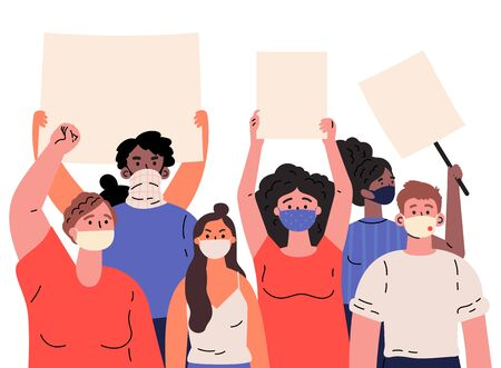 Crowd of protesting people holding banners and placards.Men and women taking part in rally,protest.Group of international male and female protesters or activists in masks.Vector flat illustration