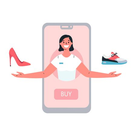Mobile shopping consept.Online shopping with a consultant in the online store.The consultant helps to choose shoes.Shopping on social networks through phone.Colorful vector illustration in flat style.