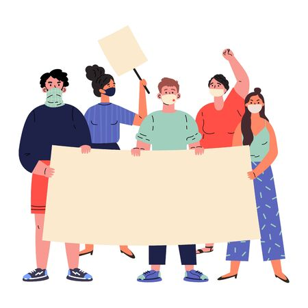 Crowd of protesting people holding banners and placards.Group of people protesting.Men and women taking part in rally,protest.Vector cartoon illustration in flat style Ilustrace