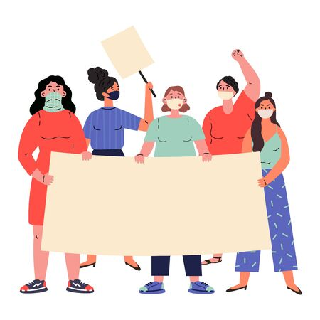 Crowd of protesting women holding banners and placards.Group of people protesting.Concept of femine female march for rights or against something.Vector cartoon illustration in flat style