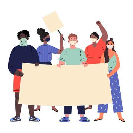 Crowd of protesting people holding banners and placards.Black lives matter.Men and women taking part in rally,protest.Group of international male and female protesters or activists.Vector illustration