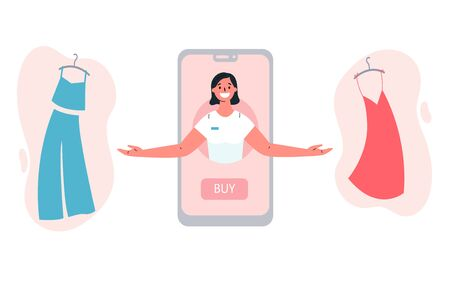 Mobile shopping consept.Online shopping with a consultant in the online store.The consultant helps to choose clothing.Shopping on social networks through phone.Colorful vector illustration. Stock Illustratie