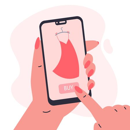 Mobile shopping consept.Woman holding a phone in her hands and shopping in the online store,buys a dress.Shopping on social networks through phone flat style.Online shopping vector illustration.