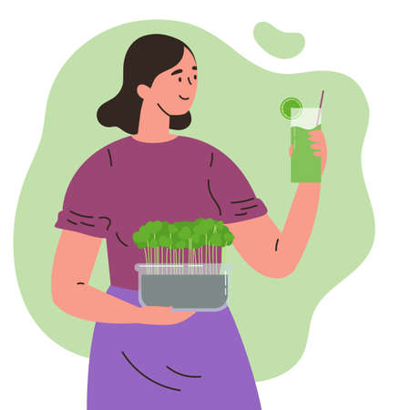 Happy cute girl with a microgreens box in one hand and with a glass of smoothie in the other.Growing superfood at home for yourself.Home farming.Vector cartoon illustration in flat style.