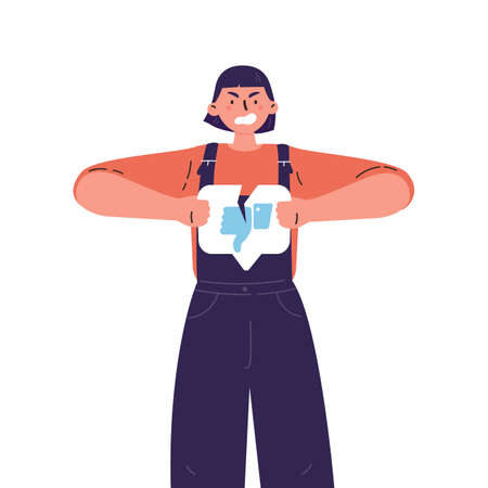 Angry woman with broken dislike button.Teenager tearing dislike.Negative sad emotions.Addiction to internet approval and validation.Vector illustration in flat cartoon style.Colourful character.