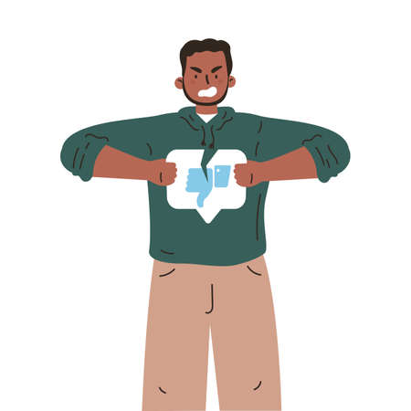Sad man with broken dislike button.Angry youngster tearing dislike.Negative sad emotions.Addiction to internet approval and validation.Vector illustration in flat cartoon style.Colourful character.