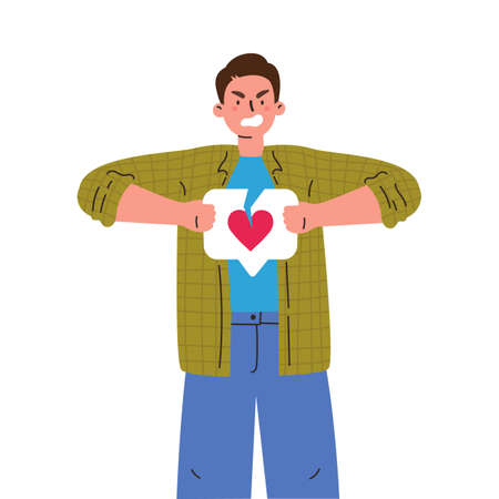 Angry man with broken like button with heart.Teenager tearing like.Negative sad emotions.Addiction to internet approval and validation.Vector illustration in flat cartoon style.Colourful character.