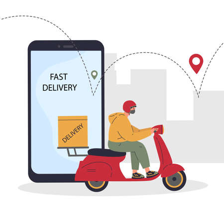 Online delivery service concept,delivery home and office.Scooter courier,man in respiratory mask.Webpage, app design.City landscape background.Vector flat illustration.Colorful character design Stock Illustratie