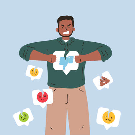 Angry man with broken dislike icon.Man breaks a dislike notification icon with different negative social media emoji around.Addiction to internet validation.Illustration in flat cartoon style. Ilustrace