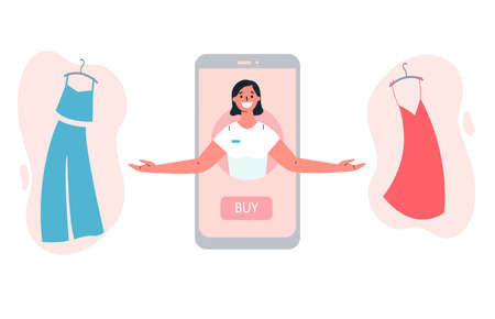 Mobile shopping consept.Online shopping with a consultant in the online store.The consultant helps to choose clothing.Shopping on social networks through phone.Colorful vector illustration. 向量圖像