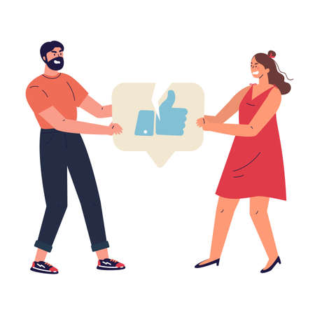 Angry woman and man with broken like icon.Characters tearing notification like icon.Addiction to internet approval and validation.Colourful vector illustration in flat cartoon style. Ilustrace
