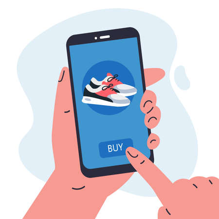 Mobile shopping consept.Man holding a phone in her hands and shopping in the online store,buys a sneakers.Shopping on social networks through phone flat style.Online shopping vector illustration.