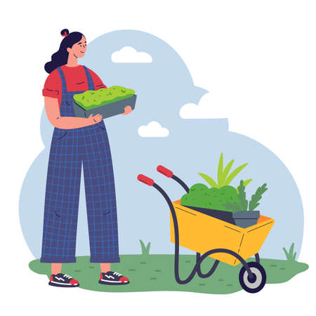 Girl gardener with equipment and a pot with greenery working flat vector illustration.Young woman with microgreen.Pleasant active rest in the garden.Plants cultivating and nursery,garden maintenance.