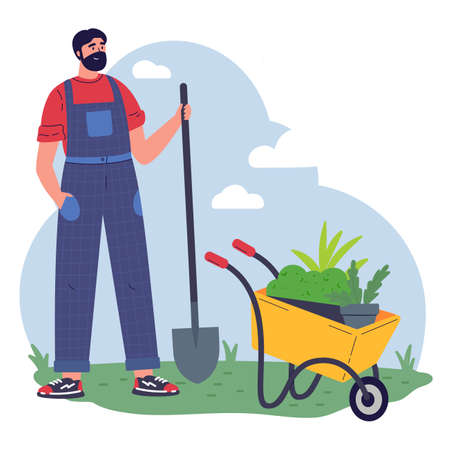 Man gardener with equipment and a pot with greenery working flat vector illustration.Young man with microgreen.Pleasant active rest in the garden.Plants cultivating and nursery,garden maintenance. Ilustrace
