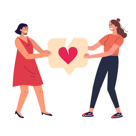 Angry women with broken like icon with heart.Female characters tearing notification like icon.Addiction to internet approval and validation.Colourful vector illustration in flat cartoon style. Illustration