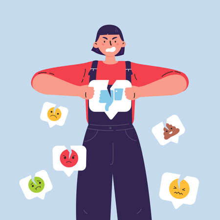 Angry woman with broken dislike icon.Girl breaks a dislike notification icon with different negative social media emoji around.Addiction to internet validation.Illustration in flat cartoon style.