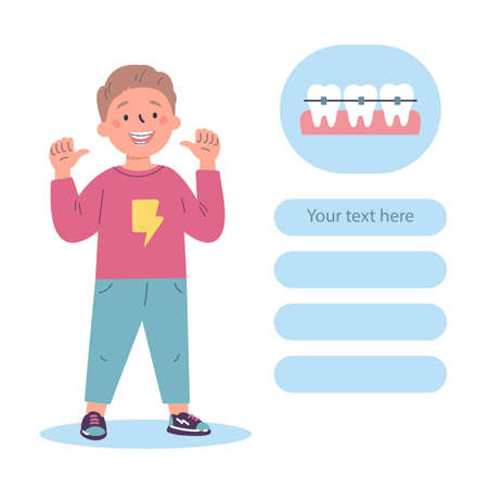 Trendy boy with teeth braces.Dental care.Teenager smiling and showing his smile with dental braces.Vector cartoon illustration isolated on white background.Colorful flat design of website page. Ilustrace