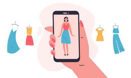 Mobile shopping.Online shopping with an application for virtual fitting of clothes.The app helps to choose clothes.Shopping on social networks through phone.Colorful vector illustration in flat style.