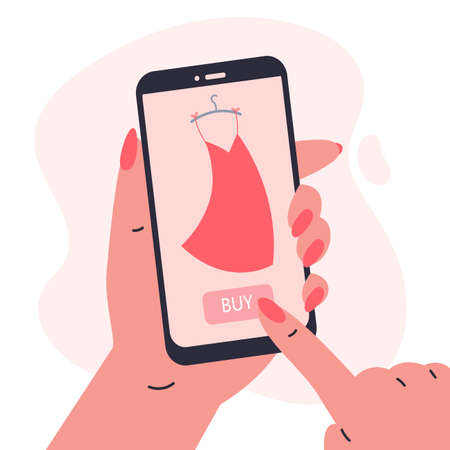 Mobile shopping concept.Woman holding a phone in her hands and shopping in the online store,buys a dress.Shopping on social networks through phone flat style.Online shopping vector illustration.