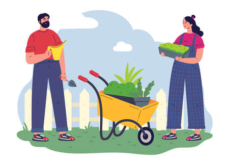 Couple of gardeners working with equipment and a pot with greenery.Flat vector illustration.Young woman and man with microgreens.Pleasant active rest in the garden.Plants cultivating and nursery.