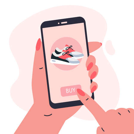 Mobile shopping concept.Woman holding a phone in her hands and shopping in the online store,buys a sneakers.Shopping on social networks through phone flat style.Online shopping vector illustration.