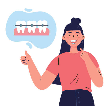 Trendy young woman with teeth braces.Dental care.Woman smiling and showing her smile with dental braces.Vector cartoon illustration isolated on white background.Colorful flat style.Character design