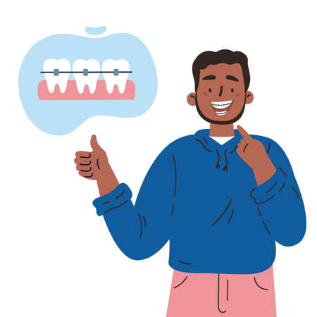 Trendy young man with teeth braces.Dental care.African american man smiling and showing his smile with dental braces.Vector cartoon illustration isolated on white background.Colorful flat style.