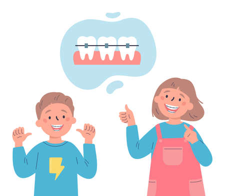 Trendy kids with teeth braces.Dental care.Teenagersr smiling and showing their smile with dental braces.Vector cartoon illustration isolated on white background.Colorful flat style.Character design. Ilustrace