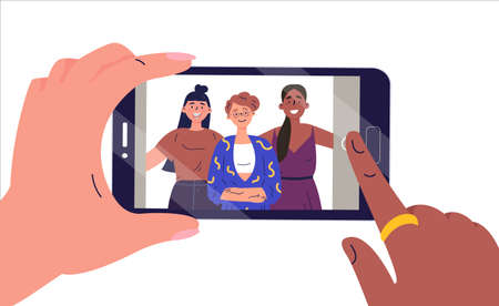 Selfie on mobile device.Smartphone screen with girlfriends selfie.Girls take photos on the mobile phone.Flat vector illustration for social media.Funny cartoon women characters.