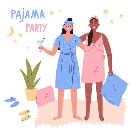 Pajama party vector cartoon illustration.Young women,girls, teenagers have fun together.