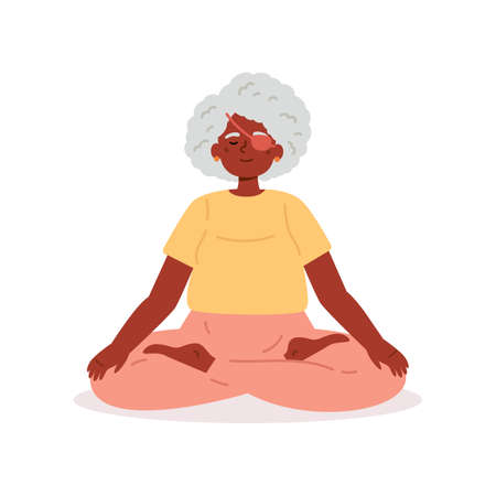 Disabled blind old woman with bandage practices yoga.Daily activities and fun.Mindfulness practices.Meditative pose.Vector flat style cartoon illustration on white background.