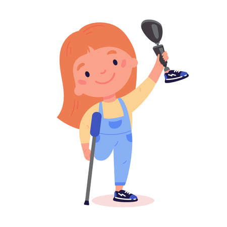 Disabled girl on crutches presents a prosthesis.Little kid with artificial limb isolated cartoon character on white background.Advertising concept.Vector flat style cartoon illustration.