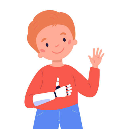 Disabled boy presents a prosthesis.Little kid with artificial limb isolated cartoon character on white background.Happy boy shows Like.Advertising concept.Vector flat style cartoon illustration.