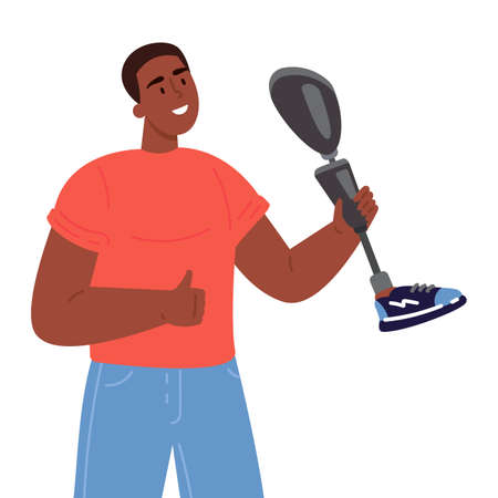 Disabled man presents a prosthesis.African American guy with artificial limb isolated cartoon character on white background.Advertising concept.Vector flat style cartoon illustration.