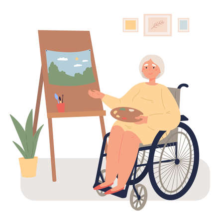 An old woman in a wheelchair draws on an easel in her room