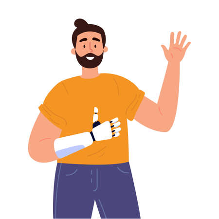 Disabled man presents a prosthesis.Young man with artificial limb isolated cartoon character on white background. Advertising concept. Flat style cartoon illustration.