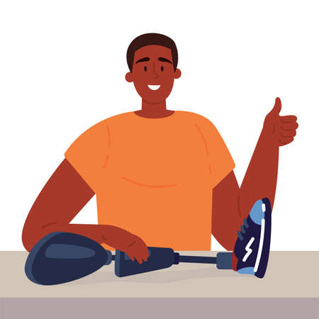 Disabled man presents a prosthesis.African American guy with artificial limb isolated cartoon character on white background. Advertising concept. Flat style cartoon illustration.