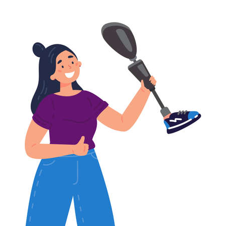 Disabled woman presents a prosthesis.Caucasian lady with artificial limb isolated cartoon character on white background. Advertising concept. Flat style cartoon illustration.