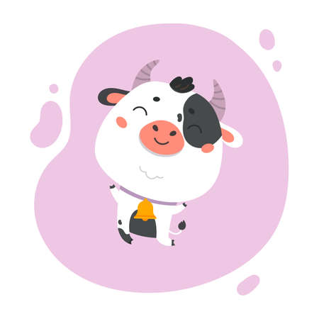 Cow cartoon. Cute farm milk animal character on lavander background. Vector funny mascot. Vector Illustration of farm cow for printing on products and packaging containing milk. Vector Illustratie