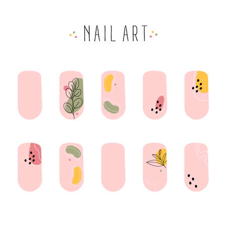 Set of colored painted abstract art nail stickers. Trendy manicure art. Nude nail polish. Vector illustration isolated on white background. 矢量图像