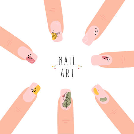 Poster with template fingernails and patterns painted on them. Abstract nail art. Trendy manicure art. Nude nail polish. Vector illustration isolated on white background. 矢量图像
