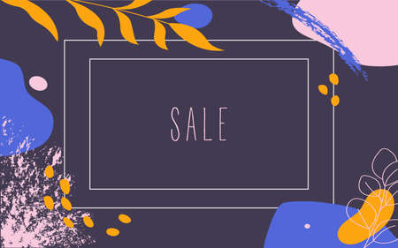 Sale banner template design on dark background. Vector fashion background illustration with abstract forms and line art.