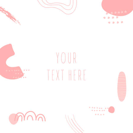 Abstract background.Hand drawn various shapes and doodle objects.Simple trendy vector illustrations. Nude pink colors.Contemporary pattern for print with space for text.Design for social networks