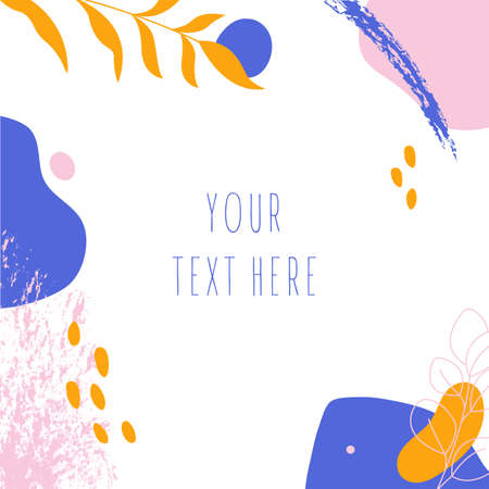 Hand drawn abstract background. Various shapes and doodle objects.Simple modern trendy background template with copy space for text.