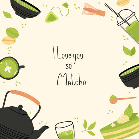 Matcha tea poster with quote design.Vector frame with Japanese tea ceremony. Illustration with various tea products made from matcha.Hand drawn trendy vector illustration with lettering. 版權商用圖片 - 157953841