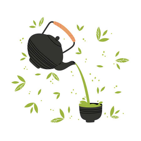 Matcha tea vector illustration. Tea is poured from a teapot into a traditional cup.Collection objects isolated on white with leaves on a background. Hand drawing illustration of matcha green tea.